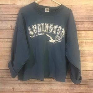 Distressed Luddington Michigan Sweatshirt.